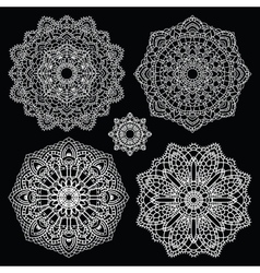 Round lace pattern set Mandala vector