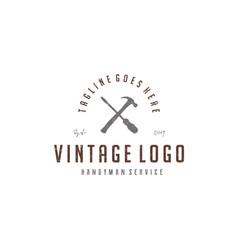 screwdriver and hammer for handyman logo vector image