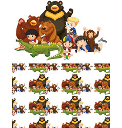 Seamless background design with kids and wild vector