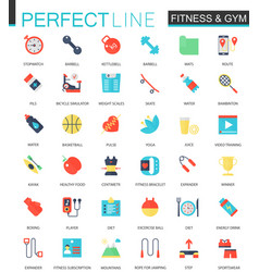 set flat sport fitness icons vector image