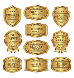 set gold quality label vintages design vector image