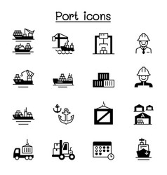 Set marine port related icons contains such vector
