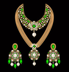 set necklace and earrings wedding female vector image