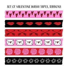 Set of cool Valentine washi tapes ribbons with vector image