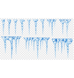 Set of translucent icicles vector