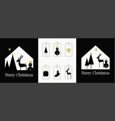 Set two christmas cards and tags for gifts vector