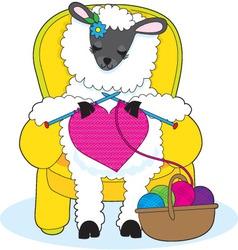 sheep knitting heart vector image