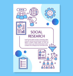 Social research poster template layout vector