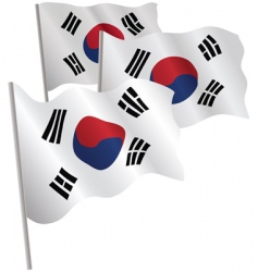 south korea 3d flag vector image