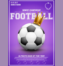 Sporting poster of women football vector