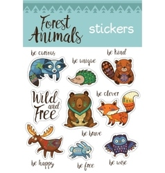 Sticker set of forest animals in cartoon style vector