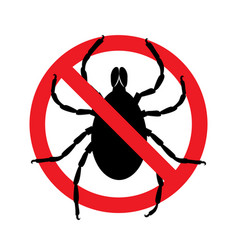 Stop ticks sign prohibitory symbol template for vector