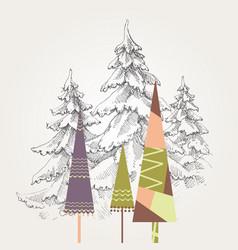 stylized christmas trees vector image