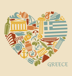 symbols of greece in the form of heart vector image