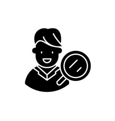 target audience research black icon sign vector image