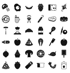 tasty dish icons set simple style vector image