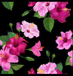 Tropical hibiscus flower seamless background vector