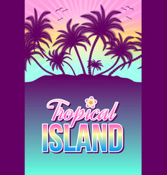 tropical island with palm trees and sunset vector image