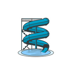 waterpark slide isolated tunnel slider and pool vector image