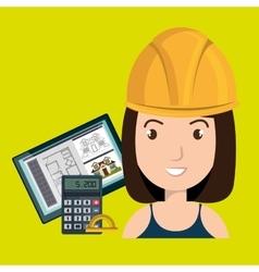 woman architect protractor vector image