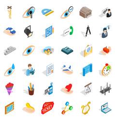 Work internet icons set isometric style vector
