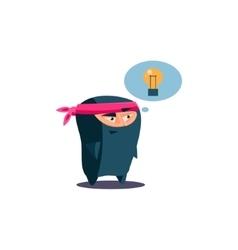 Cute Emotional Ninja Has Got an Idea vector image vector image