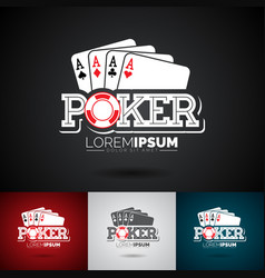 poker logo design template with gambling elements vector image