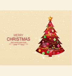 red polygonal christmas tree with decorations vector image vector image