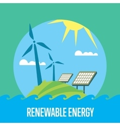 Renewable energy Sun and wind power generation vector image