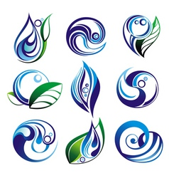 set of water elements vector image
