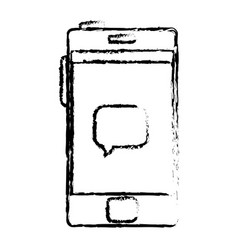 Smartphone with speech bubble device isolated icon vector