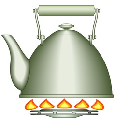 Teapot on burner vector image vector image