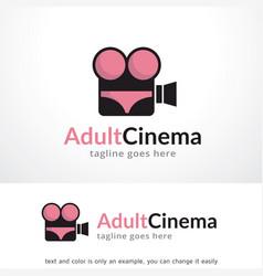 adult cinema logo template design vector image