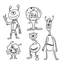 cartoon set 05 of friendly aliens astronauts vector image