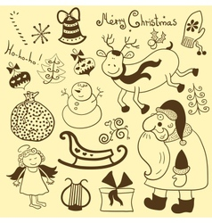 Christmas new year set vector image