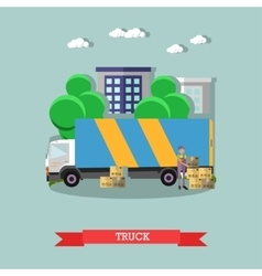 Delivery truck poster in flat style vector image vector image