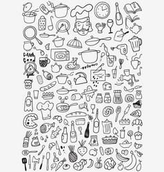 food kitchen tools - doodles set vector image vector image
