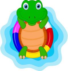 green turtle cartoon relaxing vector image vector image
