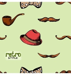 Pattern retro style hat and mustache vector image vector image