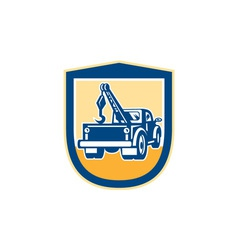 Tow Truck Wrecker Rear Shield Retro vector image