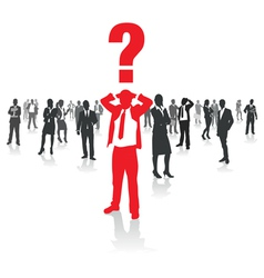 business people group and a confused man vector image vector image