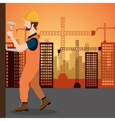 city under construction cityscape background icon vector image