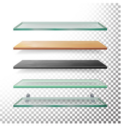 empty glass and wood shelves template vector image vector image