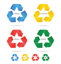 recycle icon for paper plastic and metal set vector image vector image