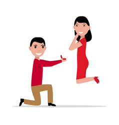cartoon proposal of marriage vector image vector image