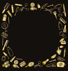 cosmetic beauty and make up frame gold vector image