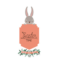 easter poster with bunny face on top of frame and vector image