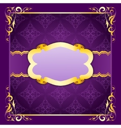 Elegant frame with ribbons on seamless ornament vector image vector image