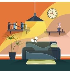 Interior of modern living room in flat design vector image