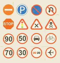 road signs grunge retro set vector image